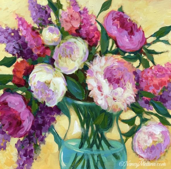 Peonies in Blue acrylic