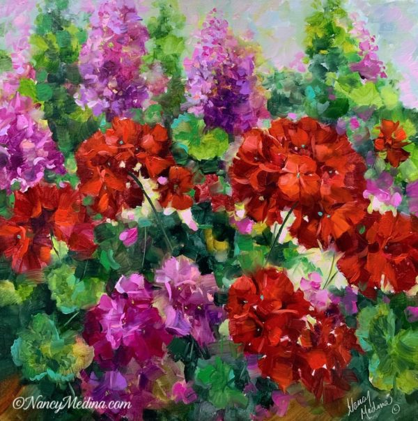 Tipping Point Red and Pink Geraniums