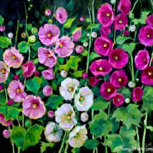 Pink Flamingo Hollyhocks