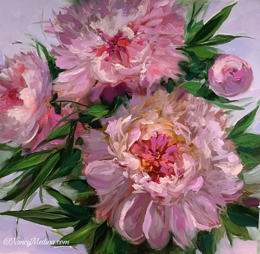 Peach Spiral Peonies, 16X16, oil, information