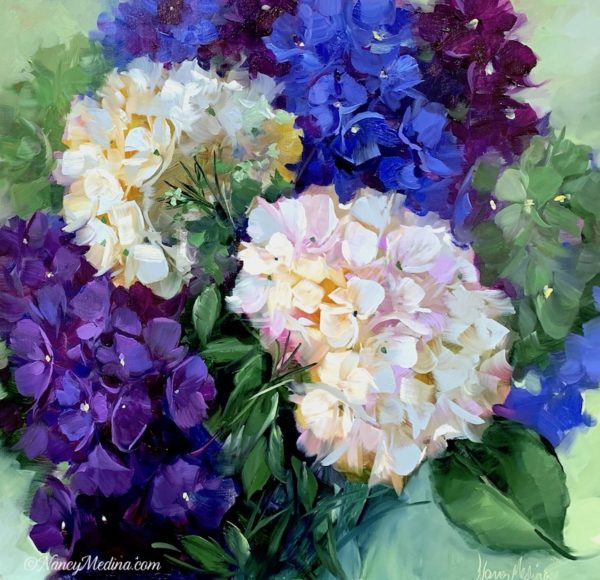Surrounded by Love blue hydrangeas