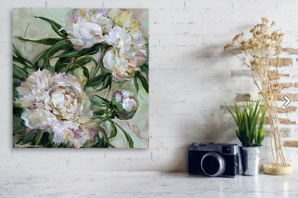 wall breathless in white peonies
