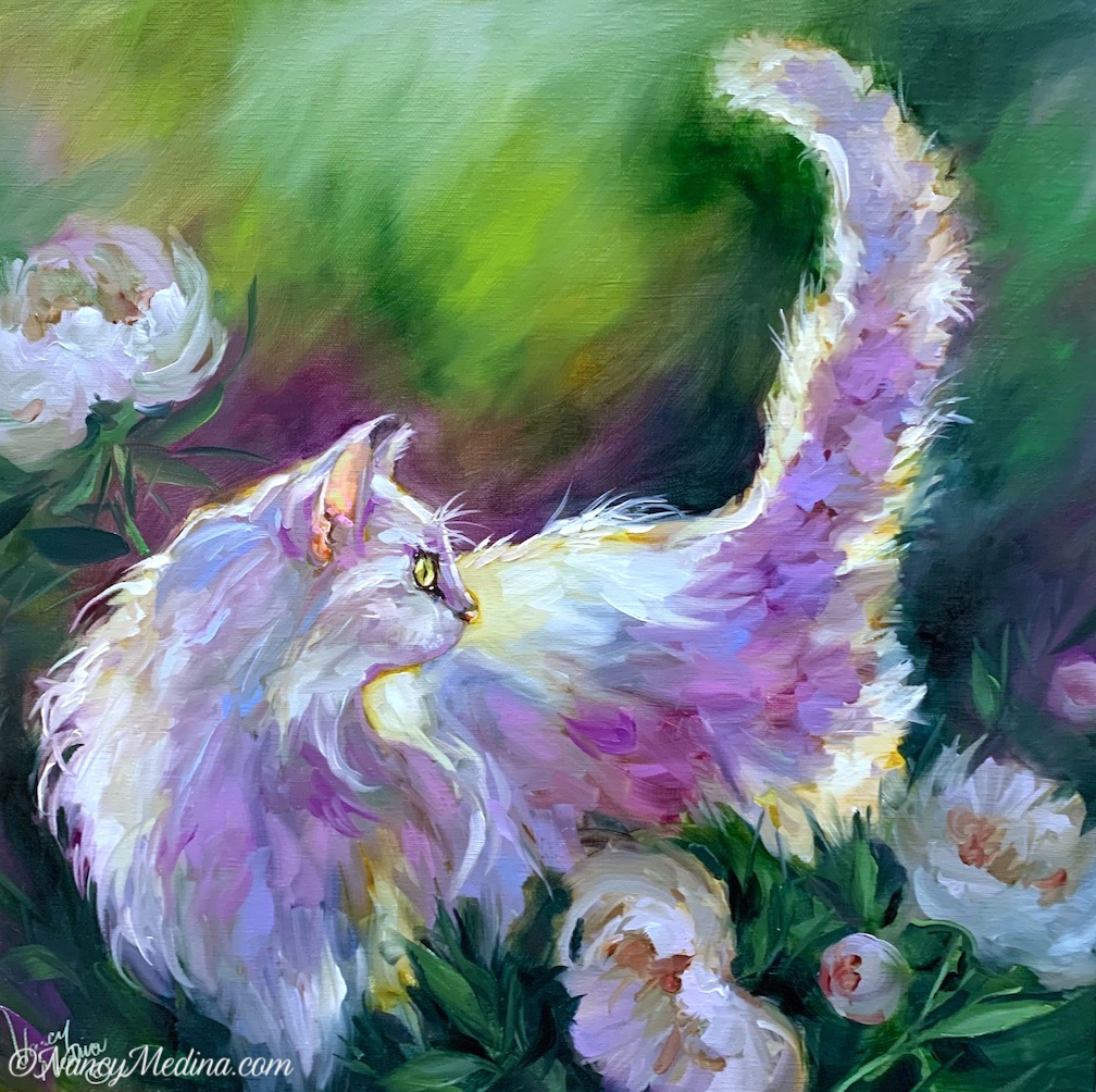 White Cat in Peonies
