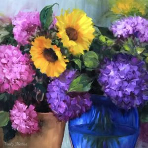 Pink and purple hydrangeas and sunflowers