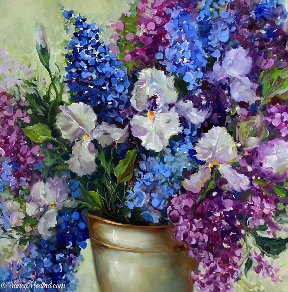 Blue Wish Delphiniums, a Joyful Brush live painting, 30X30, oil