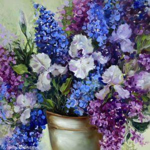 Blue Wish Delphs and Irises