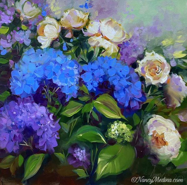 Blue Hydrangeas and White Roses live painting