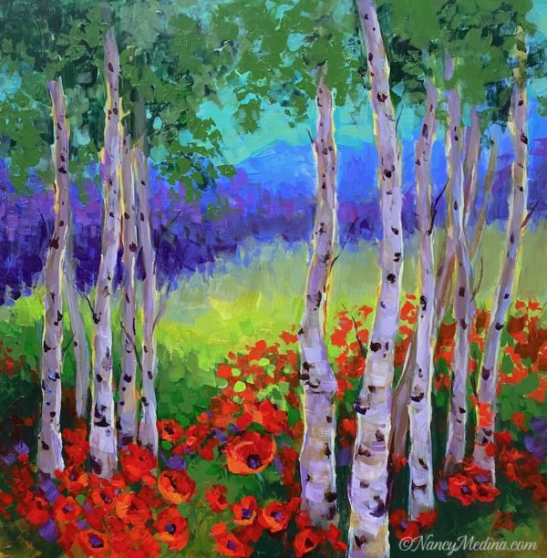 Bright Day Poppies and Aspens acrylic