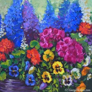 Garden Party Geraniums and Pansies acrylic 20X20