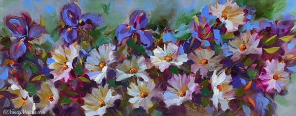 Japanese Iris and Daisies 30X12