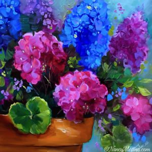Living Color Geraniums 16X16