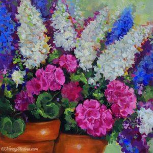 Jazzy Blooms Geraniums 20X20 acrylic