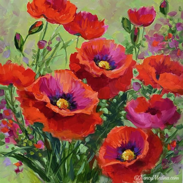 Garden Devotions Red Poppies 16X16