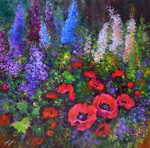 Leap with Joy Poppy Garden 36X36