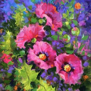 Pretty in Pink Poppies 20X16