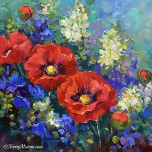 Wild Garden Red Poppies 16X16