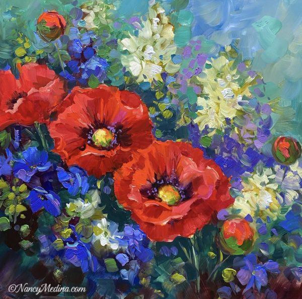 Wild Garden Red Poppies 16X16