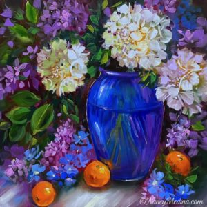 Big Blue and White Hydrangeas 20X20