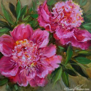Pink Memory Peonies 16X16