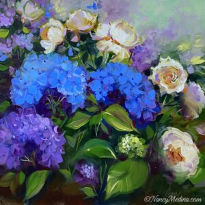 Blue Hydrangeas and White Roses 20X20