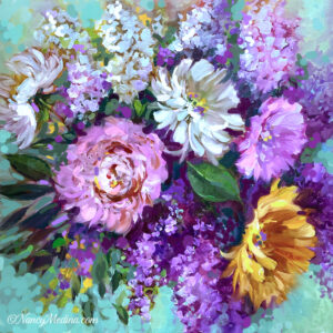 Bountiful Garden Peonies and Mums 20X20