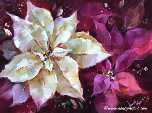Holiday Glimmer Poinsettias 16X12