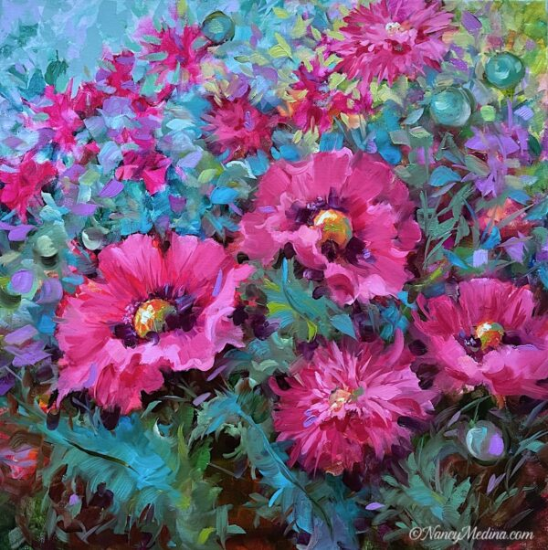 Pink Ladies French Poppies 20X20