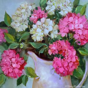 Pink Wing Hydrangeas 20X20