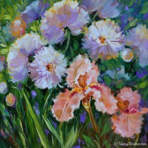 Peach Iris Garden 20X20
