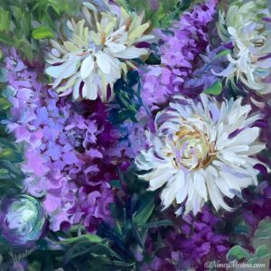 Violet Spiral Dahlias 16X16