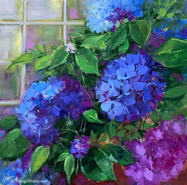 Sunday Blue Bloomer 16X16