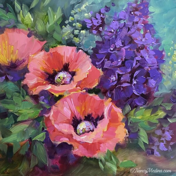 Peach trio poppies 16X16