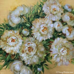 Snow Drop Peonies on Gold