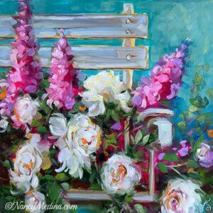 Garden Respite Peonies 16X16