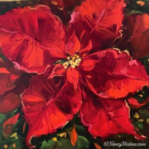Holiday Red Poinsettias 12X12