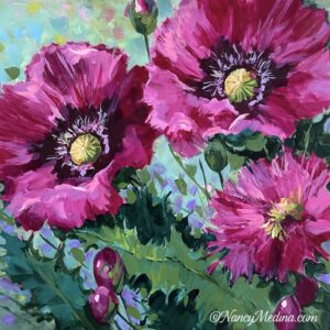 Garden Party Pink Poppies 16X16