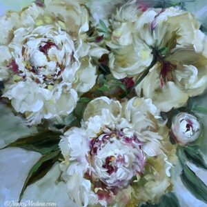Moonlight Sonata White Peonies 16X16