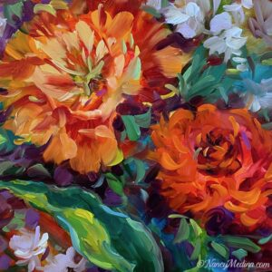 Wild Wind Orange Tulips 12X12