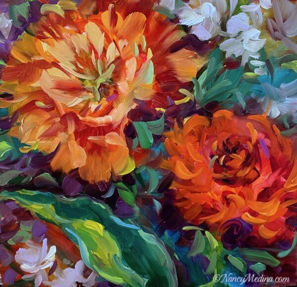Wild Wind Orange Tulips 12X12