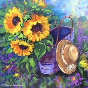French Picnic Sunflowers 20X20