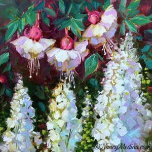 Fuschias and Delphiniums 16X16 TJB