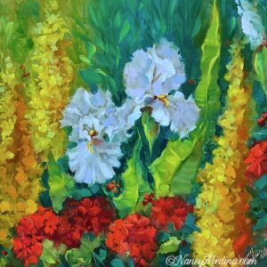 Snapdragons and Irises 20X20 TJB