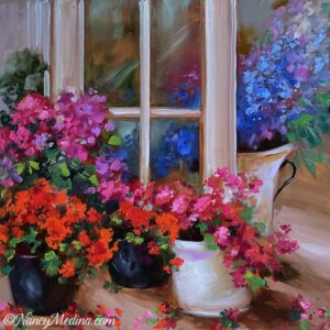 French Door Geraniums 16X16 TJB
