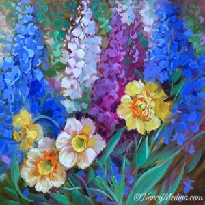 Daffs and Delphs 20X20