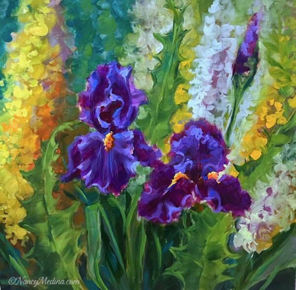 Snapdragons and Purple Iris Garden