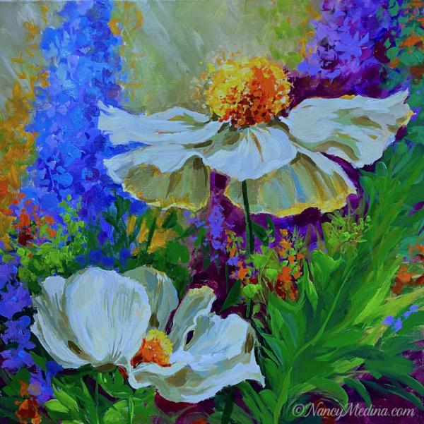Garden Dancers White Poppies 20X20