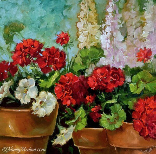 Petunia and Geranium container garden 20X20