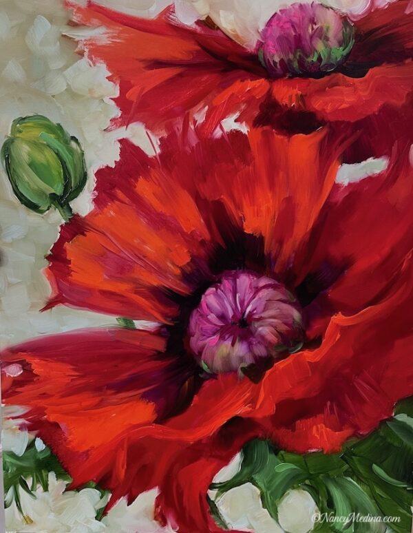 Red Fringe Poppies 18X14
