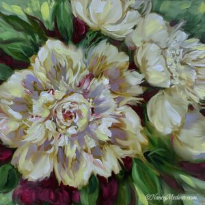 Wind Chime White Peonies 16X16