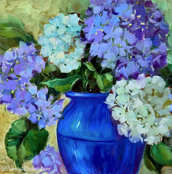 Garden Cuttings Blue Hydrangeas 16X16